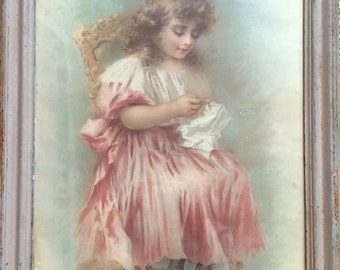 Antique Painting Framed Art Little Girl Pink dress 1800's wall art Print Framed Antique Art
