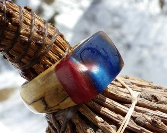 Cosmic Galaxy Star Dust Night Sky EvenTide on Spalted Beech Wood Base Ring Size 9.25 or Custom Fit