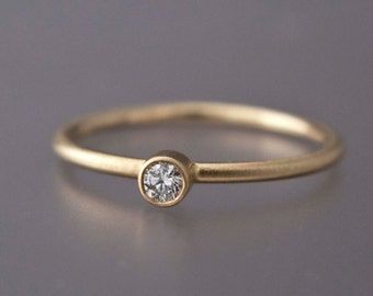 Mini Diamond Engagement Ring - 2.5mm Diamond in Solid 14k Yellow or White Gold