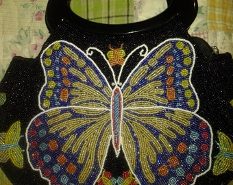 Heavy beaded butterfly handbag- Gorgeous beadwork