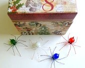 Handmade Small Hanging Xmas Spiders Red White Blue and Green Perfect Gift for Entomologist and Bug Lover
