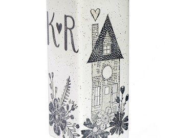 Personalized Wedding Vase, Monogram Wedding Vase, Personalized Monogrammed Ceramic Vase, Wedding Centerpiece Vase, 50th Anniversary Vase