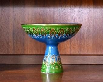 vintage mid century modern bitossi for rosenthal netter italian pottery pedestal bowl