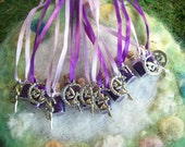 Purple Moon Fairy Party Favors 10 Fairy Necklaces Fairy Sparkling Glitter Party Favor Silver Moon Fairy Charm Birthday Party Favor