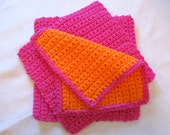 Crocheted Cotton Dish Cloth, Wash Cloth, Face Cloth, Baby Wash Cloth, Scrubby, Primitive, Farm House - Set of 3