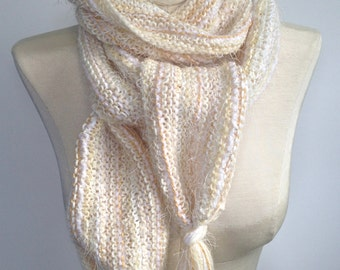 Scarf Womans Knit Muffler Winter White Wool Mohair Scarf