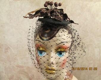 Leopard Print Fascinator With Veil - Veil Fascinator - Leopard Holiday Fascinator-