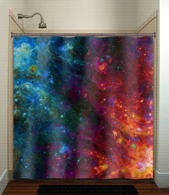 Fire ice nebula planet outer space galaxy shower curtain for Outer space fabric panel