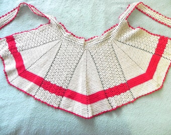 Vintage Apron 30s Hand Crochet red and ivory cutie - on sale
