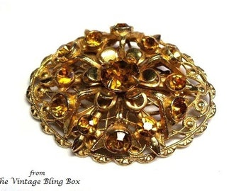 40s Golden Topaz Rhinestone Brooch with Chaton Cut Crystals Prong and Pave Set into Gold Open Metalwork Motif - Retro 1940's Costume Jewelry