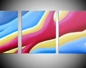 "large wall art  triptych huge triptych hanging ""Colour Acel"" oversized art huge canvas art 3 panel wall art three panel wall decor 48 x 20"""