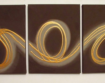 """extra large wall art Original Art by UK 3 panel abstract painting triptych canvas office home abstract paintings on hanging kunst 54 x 24"""""""