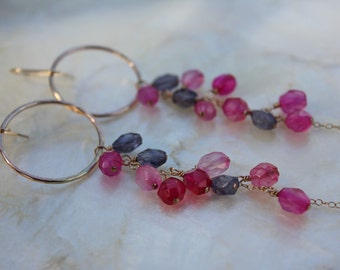 Pink Chalcedony Iolite Gold hoops