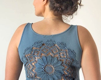 Steel Grey Tank Top with upcycled vintage doily crochet back - size XL