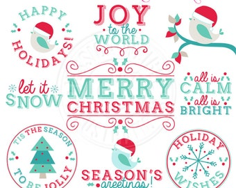 Tis the Season Titles Cute Christmas Digital Clipart - Commercial Use OK - Christmas Graphics - Christmas Clipart - Christmas Titles