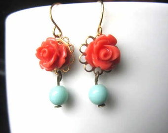 Coral rose with mint beads stone dangle earring wedding, flower girl, bridesmaid gift