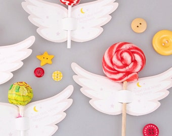 10 Angel Lollipop Candy Tags (2.4 x 4.7in)