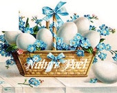 Easter Basket of Eggs and Forget Me Nots Digital Image Altered Art Instant Download
