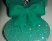 Bunny Pendant Mint Glitter w/lg Mint Bow