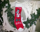 Vintage Christmas stocking Snowman knit stockings retro snowman decor Cottage Chic decor red white green stockings christmas home decor