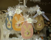 Easter egg ornaments with bunny wooden eggs easter bunnies Cottage Chic home decor Easter eggs ornament