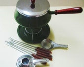 Retro Olive Green Fondue Set