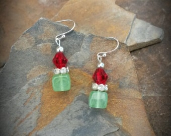 Green Red Glass Silver Dangle Earrings, Green Square Silver Dangle Earrings, Green Red Glass Earrings