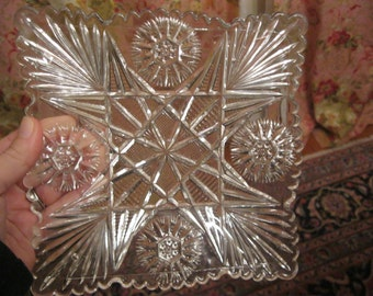 Vintage Antique Glass Plate Luncheon Plate, Pattern Glass