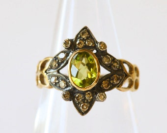 Peridot and Diamond Ring Antique Unique Engagement Ring Victorian 18K Gold Ring Antique August Birthstone