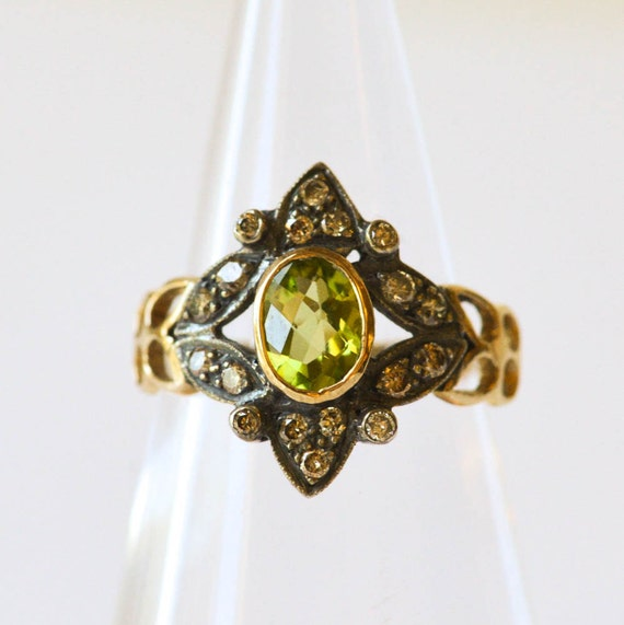 peridot and diamond ring antique unique engagement ring