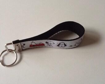 Snoopy Ribbon Print Wristlet Key Fob