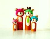 Woodland Animal Family Peg Doll Set - Your Choice Of Deer Fox Bunny Skunk Bear - Woodland Nursery - Unique Gift - Easter