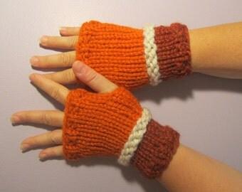 Fingerless Gloves - Orange and Off White Hand Knit Fingerless Gloves