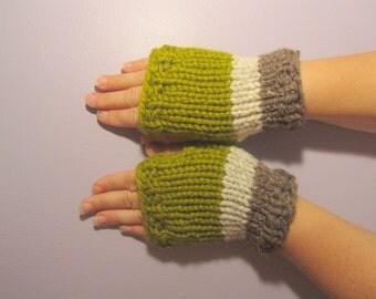 Fingerless Gloves - Green, Off White, and Taupe Hand Knit Fingerless Gloves