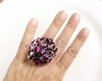 beaded ring purple ring statement artisan ring adjustable size