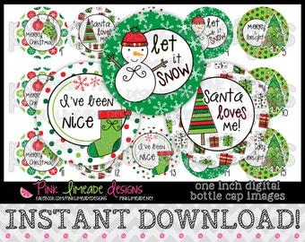 """Christmas Doodles 2 - INSTANT DOWNLOAD 1"""" Bottle Cap Images 4x6 - 726"""