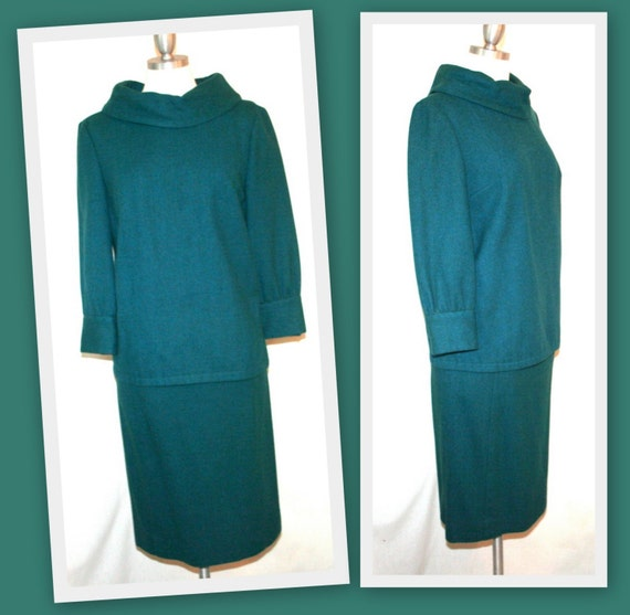 1960s Vintage Mod Style Pendleton Wool Teal Skirt and Rounded Collar Top Set