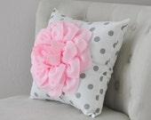 Baby Pink Dahlia Flower on White and Gray Polka Dot Pillow Accent Pillow Throw Pillow Toss Pillow Decorative Pillow Light Pink Pillow