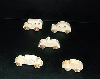 5 Handcrafted Wood Toy Cars  OT-35 unfinished or finished
