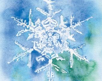 Snowflake Watercolor Painting - 11 x 14 - Giclee Print - Wall Art - Blue Snowflake Painting