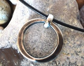 "Solid Sterling Silver ""O"" Circle Pendant Leather Necklace---Creations by Sandy"