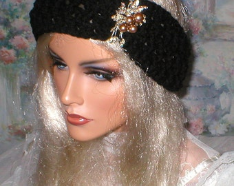Crochet Womens Fall Winter Vintage Style Reproduction Rhinestones Faux Pearls Brooch Head Wrap Turban Ear Warmer