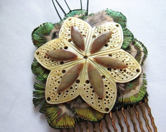 Flower hair comb | mother of pearl shell | fascinator | large