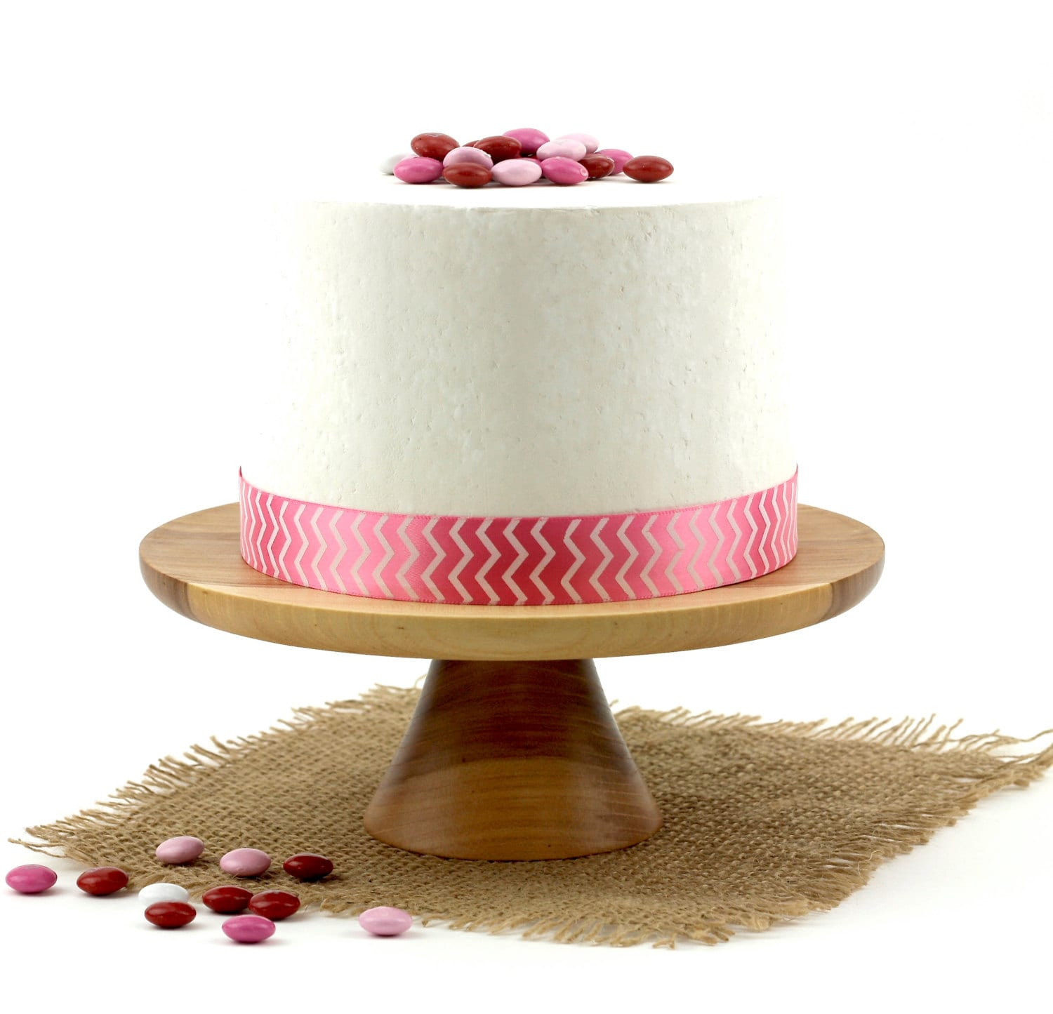 Wooden Elm Cake Stand / Pedestal Cake Plate By WoodExpressions. Full resolution  portrait, nominally Width 1500 Height 1445 pixels, portrait with #441604.
