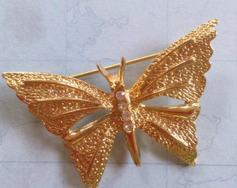 Vintage Butterfly Pin with Rhinestones  Signed Gerrys