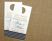 RESERVED for Carly - Double-sided Stripes Wedding Door Hangers - Do Not Disturb  - Guest Welcome Bag Fun - Custom Colors - Set of 54