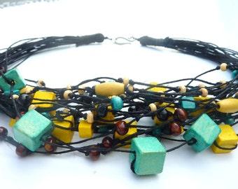 Retro - Black  Linen Necklace