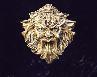Gothic Greenman Leafman  Wicca Pagan Celtic Gargoyle Wall Hanging Medieval Renaissance Forest Man Face Grotesque Small Brown Plaque Decor