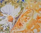 Orange Butterfly White Daisy Art on Yupo - Bright Orange Green with bokeh WaterColour  ORIGINAL watercolor on Yupo Paper - 8x11