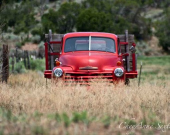 Christmas Red Chevrolet Old Antique Pickup - photograph 8x10 giclee Man Cave art vintage Chevy pickup truck abandoned